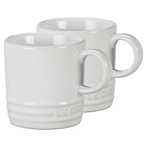 Le Creuset White Stoneware Petite 3.5 Ounce Espresso Mug, Set of 2