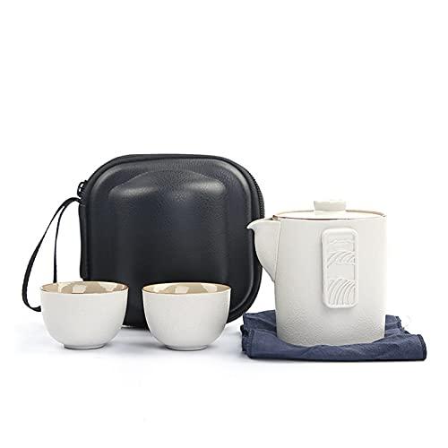 DLRBWAN Tetera Juego de té de Viaje Juego de té Cerámica Kung FU Portátil Portátil Taza rápida One Bote Dos Tazas Dos Tazas Tienda de Tetera al Aire Libre Tetera (Color : White, Size : 200ml)