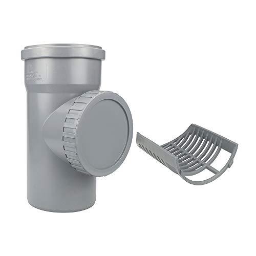 Regenrohrfilter mit Sieb Fallrohrfilter Reduzierstück KG HT Rohr 110 mm (Grau)
