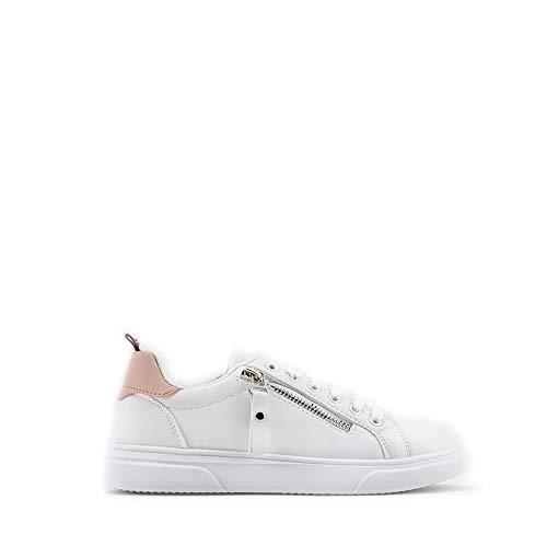 Modelisa - Zapatillas con Cordón Detalle Cremallera para Mujer (Blanco/Rosa, Numeric_39)