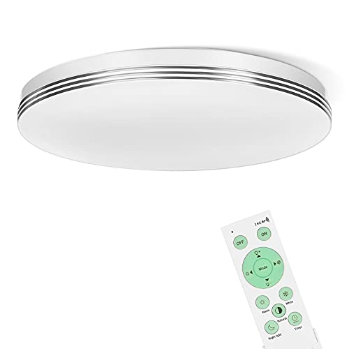 EDISHINE Deckenlampe LED, 24W LED Deckenleuchte mit Fernbedienung, 3000K-6500K Deckenleuchte LED Dimmbar für Flur, Wohnzimmer, Schlafzimmer, Küche, CE zertifiziert