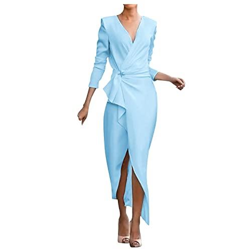 SLENDIPLUS Vestido feminino moderno, decote em V, sexy, elegante, cintura média, franzido, manga comprida, bainha irregular, vestido de festa colado ao corpo, B - azul, XXG