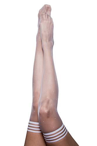 Kix`ies Thigh High Stockings for Women | Maternity Lingerie - Maternity Pantyhose (Maternity Brooke LeAnne White Polka Dot 1308D)