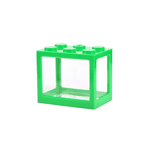 JERALD GATES Mini Aquarium Mikroökologische Zylinder Ameise Box Kunststoff Zierbausteine Für Betta Fisch Garnelen Schildkröte (Grün)