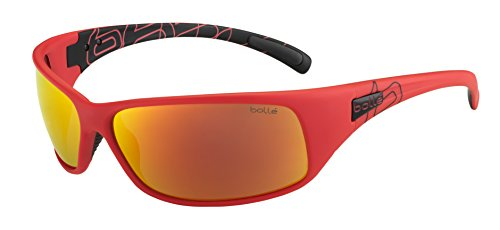 Bolle Recoil Sunglasses, Matte Black/Red Polarized TNS Fire Oleo AF