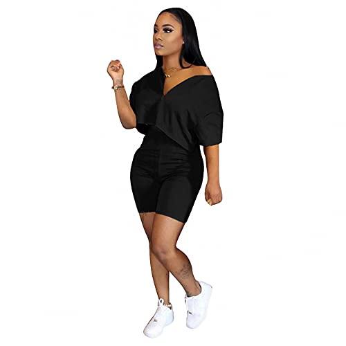 FANDEE Women Two Piece Outfits Summer Crop Top for Women Jumpsuit Plus Size Tracksuit Casual Biker Short Sets Black XX-Large