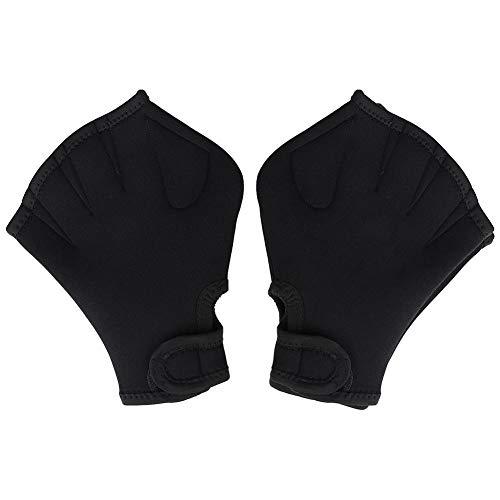 VGEBY Guantes de natación, Adultos Niños Hombre Mujer Buceo Natación Guantes palmeados con Dedos palmeados para Practicar Snorkel Surf(Negro)
