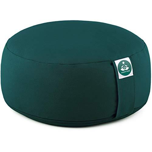 Present Mind Meditationskissen - Yogakissen Rund Zafu - Hergestellt in der EU - Sitzhöhe 16cm - Waschbarer Bezug - 100% Natürliche Yoga Sitzkissen (Smaragdgrün)
