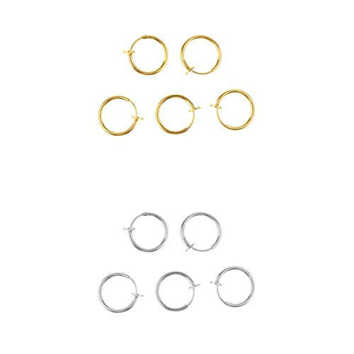joyMerit 10pcs Ilusión Clip en Pendientes Nariz Helix Hoop Piercing Oro / Plata