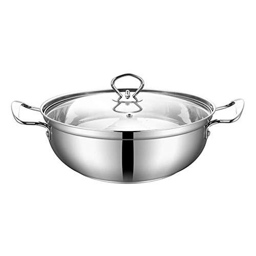 NBVCX Home Accesorios Stockpots Cacerola Platos de acero inoxidable Olla de cocina con tapa de vidrio Olla con asas dobles a prueba de calor Easy Clean 25 * 9.5Cm