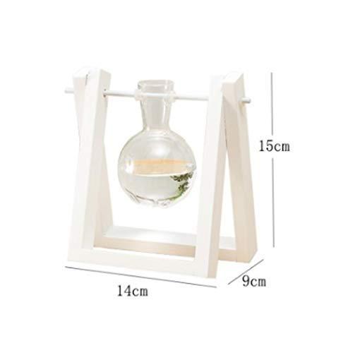 RR&LL CraftsBulb glazen vaas voor op het bureau met houten standaard, draaibare metalen standaard met 1 vaas (kleur: B)