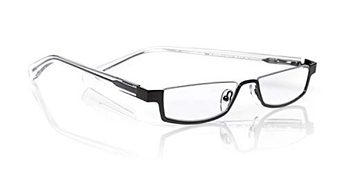 eyebobs Peek Performer Unisex Premium Readers, Matte Silver Front with Horn Temples, 1.50 Magnification