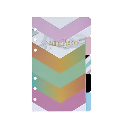 Binder Dividers 5 Tabs A6 Index Page Divider Cute with Inspirational Quotes for Loose-Leaf Notebook, Journal, Planner (A6, Stripe)