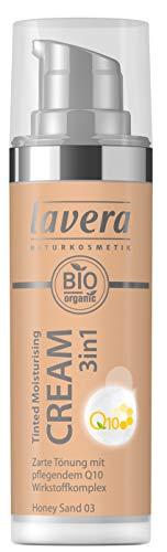 lavera Tinted Moisturising Cream 3in1 Q10 -Honey Sand- Getönte Feuchtigkeitscreme ∙ Hautpflege und Farbe ∙ Vegan Naturkosmetik Natural Make-up Bio Pflanzenwirkstoffe 100% natürlich (1x 30ml)