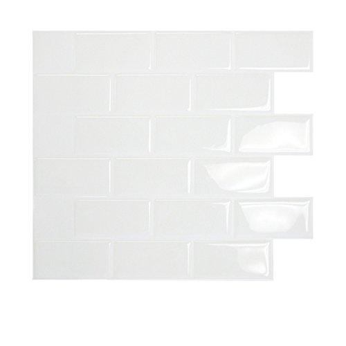 Wandfliesen zum Kleben, U-Bahn-Fliesen-Design, patentierte Gel-O-Technologie, 28x 25cm, Weiß