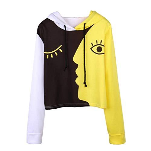 Damen Bekleidung, Crop Pullover, Dress Sweatshirts & Kapuzenpullover für Damen, Gelb, L, Women Ladies Sweatshirt Hooded Long Sleeve Crop Patchwork Blouse Pullover Tops