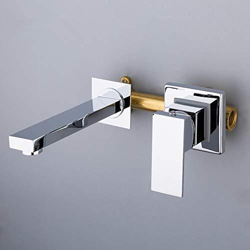 BFLO Kraan Wandmontage Zilver Kleur Spiegel Wastafel Kraan Wastafelkranen Inbouw Wastafel Mengkraan Set Handgreepkranen