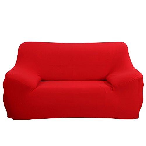 Shanna Sofaschonbezug, für 1-,2-,3-,4-Sitzer-Sofa, elastischer Stoff, Sofaschutz, Textil, rot, 2-Seater Chair + 1pcs Free Pillowcase