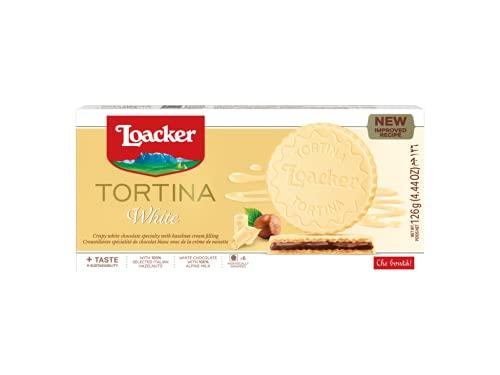 Loacker - Gran Pasticceria Tortina White - Mit weißer Schokolade überzogene Waffeln mit einer Haselnuss-Creme-Füllung aus 100 % italienischen Haselnüssen - Essen und Snacks - Verpackung enthält 125 g