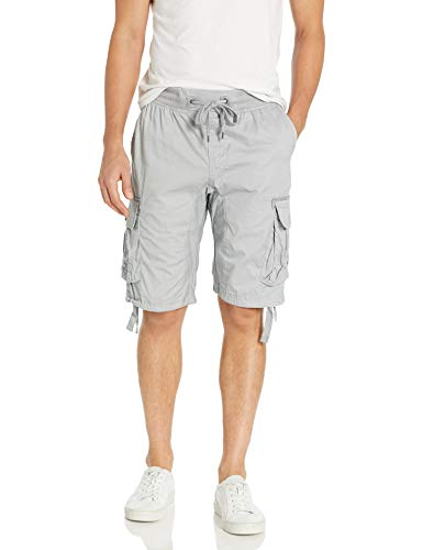 Southpole Men's Jogger Shorts with Cargo Pockets in Solid and Camo Colors, Light Grey(New), Medium
