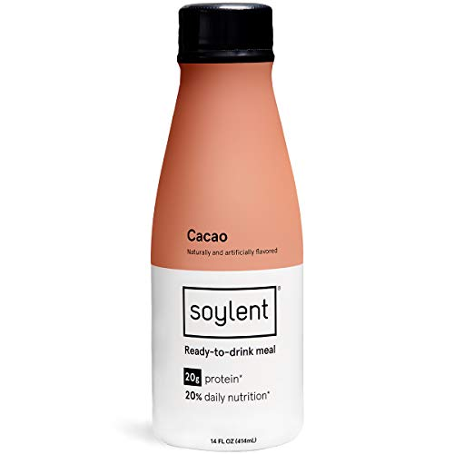 Cacao (Chocolate) Soylent Meal Replacement Shake 12-pack, Complete Meal in a Bottle, 20g Plant Protein, 14 oz Bottles