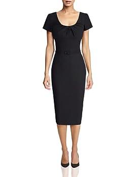 MUXXN Women s Pure Black O Neck Knee Length Rockabilly Party Dress  L Black