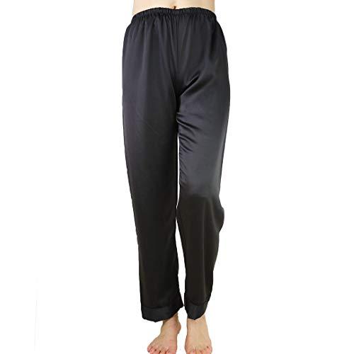 Wantschun Womens Satin Silk Sleepwear Long Pajamas Pants Nightwear Loungewear Pj Bottoms Trousers Black US Size XS
