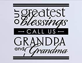 Onze grootste zegeningen bellen ons opa en oma - Vinyl muursticker glans lavendel