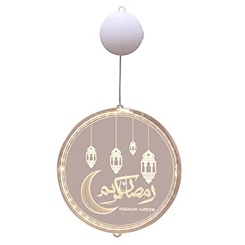 POHOVE Eid Mubarak Luz decorativa, Eid Ramadan Luz decorativa de hadas, Eid Ramadan Mubarak Crescents lámpara, Eid Ramadan Mubarak Linterna Luz Luna Estrella Decoración colgante al aire libre