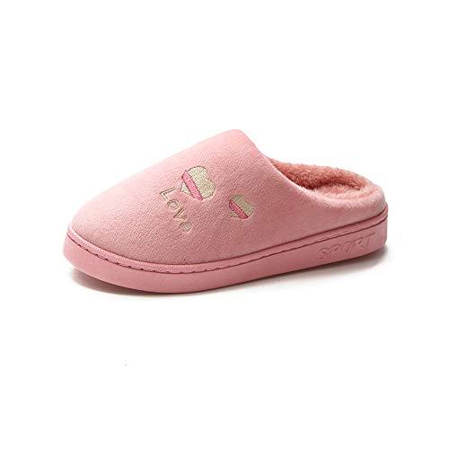 JXILY Zapatillas De Casa De Mujer Antideslizante CáLido Zapatos Invierno Hombre Pantuflas Cómodas Suave Slippers,Rosado,36/37 EU