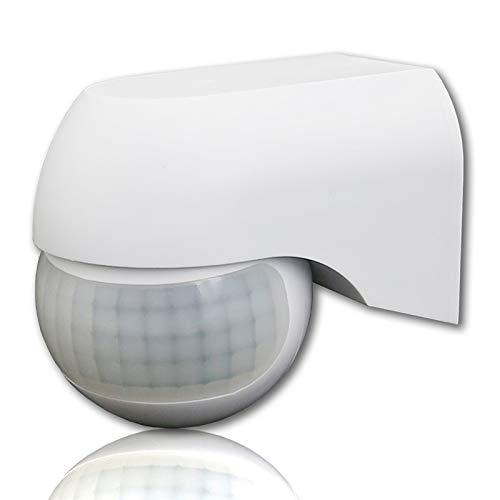 Sensor de movimiento por infrarrojos QWYEURO, montado en la pared IP44, LED adecuado, alcance máximo 12m/180°y 800/400W(Blanco)