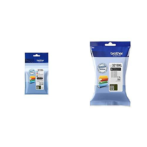 Tinta Brother LC-3219XLVAL Pack Cuatricolor Alta Capacidad 1.500/3.000 Pag, Multi-Pack + LC3219XLBK Cartucho de Tinta Negro Original de Larga duración para Las impresoras