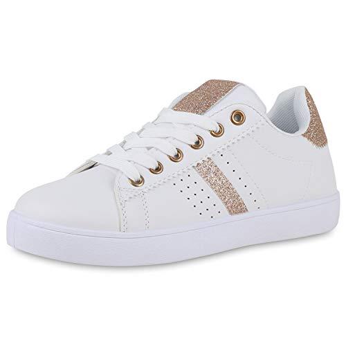 SCARPE VITA Damen Sneaker Low Glitzer Cut-Outs Sportliche Schnürer Schuhe Flache Schnürschuhe Bequeme Freizeitschuhe 195267 Weiss Rose Gold 39