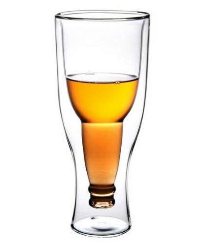 Grinscard Bierglas Pils & Alt - Doppelwandig Versunkene Bierflasche Design 330 ml - Universalglas Hausbar & Party