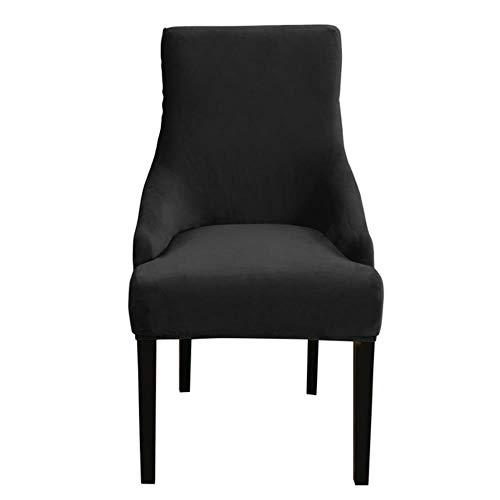 Effortsmy - Coprisedia in velluto, 1/2 pezzi, in spandex, per banchetti, per sedie da pranzo, decorazione per la casa D30, colore: nero, Polonia, confezione da 2 pezzi
