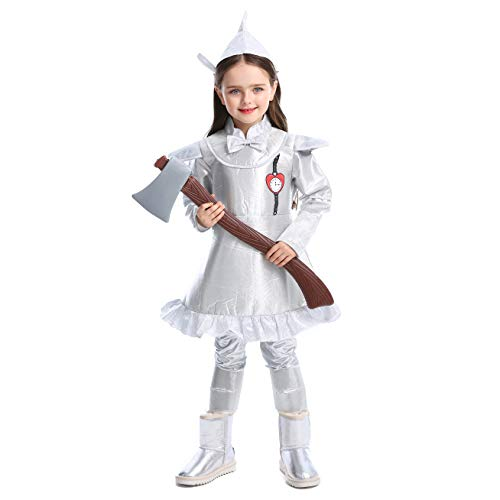 LOLANTA Kind Mädchen Wizard of Oz Kostüm Tin Man Outfit befestigen Axt Halloween Silber Kostüm