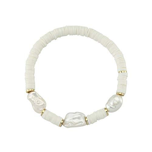 Luzdemia Pulsera elástica de arcilla blanca con perla de agua dulce, tamaño de la perla: 13-17 mm pulsera de nueva temporada