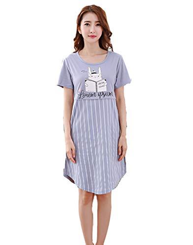 DSJJ Frauen Kurzarm Baumwolle Nachtwäsche gedruckt Tier Nachthemd Damen/Mädchen Pyjamas Kleider (M-3XL)