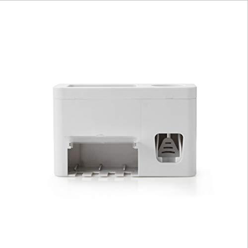 SoQte Soporte de cepillo de dientes multifuncional, dispensador de pasta de dientes montado en la pared, uso para cocina o inodoro