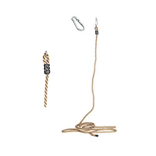 h2i Kinder Kletterseil Knotenseil von 200 cm bis 800 cm mit und ohne Knoten incl. Karabiner zum Einhängen (5,7 m Ø 28 mm 0 Knoten)
