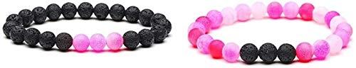 KEEBON Pulsera de piedra Mujer, 7 chakra 8mm perlas de piedra natural de color rosa negro Brazalete Elástico Joyería de rezo de yoga Energía Balance Reiki Charm ilimitado Regalo para pareja 2pcs / set