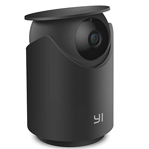 Indoor WiFi Security IP Camera, YI Smart Nanny Pet Dog Cat Dome Cam with Night Vision, 2-Way Audio, Motion & Face Detection, 360-degree, 1080p, Phone App, Compatible with Alexa and Google (Black)