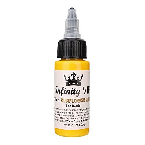 Encre de tatouage, Kit de pigments de tatouage 30 ml/bouteille, Pigment de maquillage pour le corps semi-pernament de longue durée[jaune]