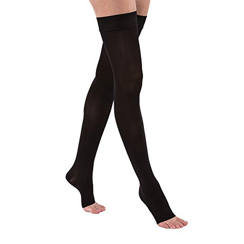 JOBST Opaque Thigh High with Silicone Dot Top Band, 30-40 mmHg Compression Stockings, Open Toe, Large, Classic Black