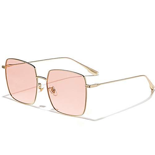 Gafas de sol cuadradas rosas para mujer, antiultravioleta, cara grande, delgadas, modernas, varias formas faciales, artículos de moda, luz polarizada de alta definición, visión cómoda (color: rosa)