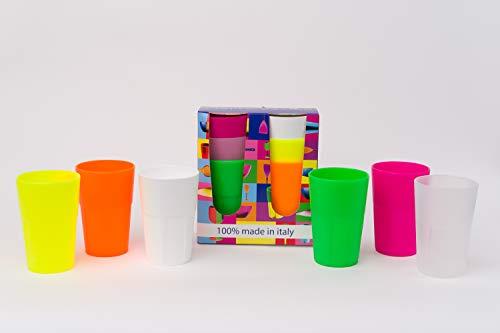 Mojito Design Linea Bicchieri Cocktail 35 6 Colori, Multicolore, 7.8x7.8x11.5 cm, 6 unità