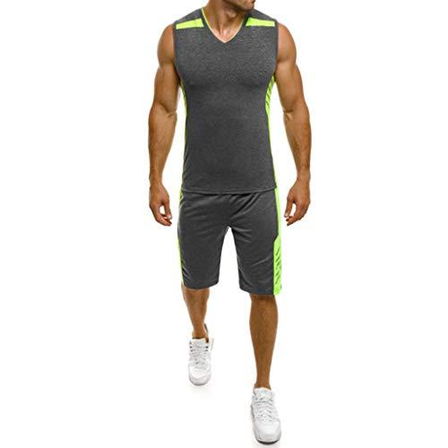 CICIYONER Tank Top + Shorts Herren Fitness Sweatshirt Anzug Jogginghosen Joggingweste Jogginganzug Männer beiläufige dünne ärmellose T-Shirt Hosenanzug Top Bluse M-3XL