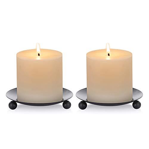 Nuptio Unids de 2 Candelabros de Pilar de Hierro Negro 11cm de Diámetro. Ideal para Jardines de Velas de Cera o LED, SPA y Aromaterapia, Conos de Incienso, Bodas, Fiestas, SPA