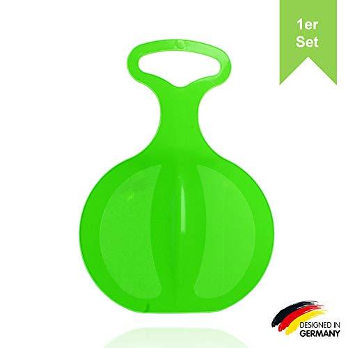 LILENO SPORTS Kinder Poporutscher zum Rodeln (1er Set grün) - Kunststoff Rutschteller für die ganze Familie - Schlitten Schneerutscher für unvergessliche Wintertage - auch für Erwachsene