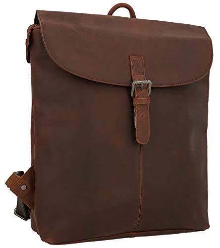 Gusti Rucksack Leder - Kieran Lederrucksack Cityrucksack Backpack Daypack diebstahlsicher Vintage Damen Herren Kamelbraun